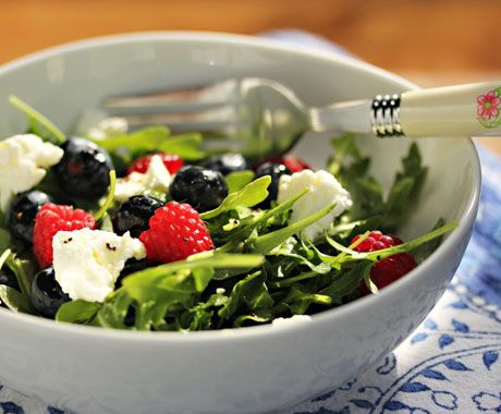 Rich in antioxidants, this arugula, berries and goat cheese salad makes a lovely summer lunch entree.