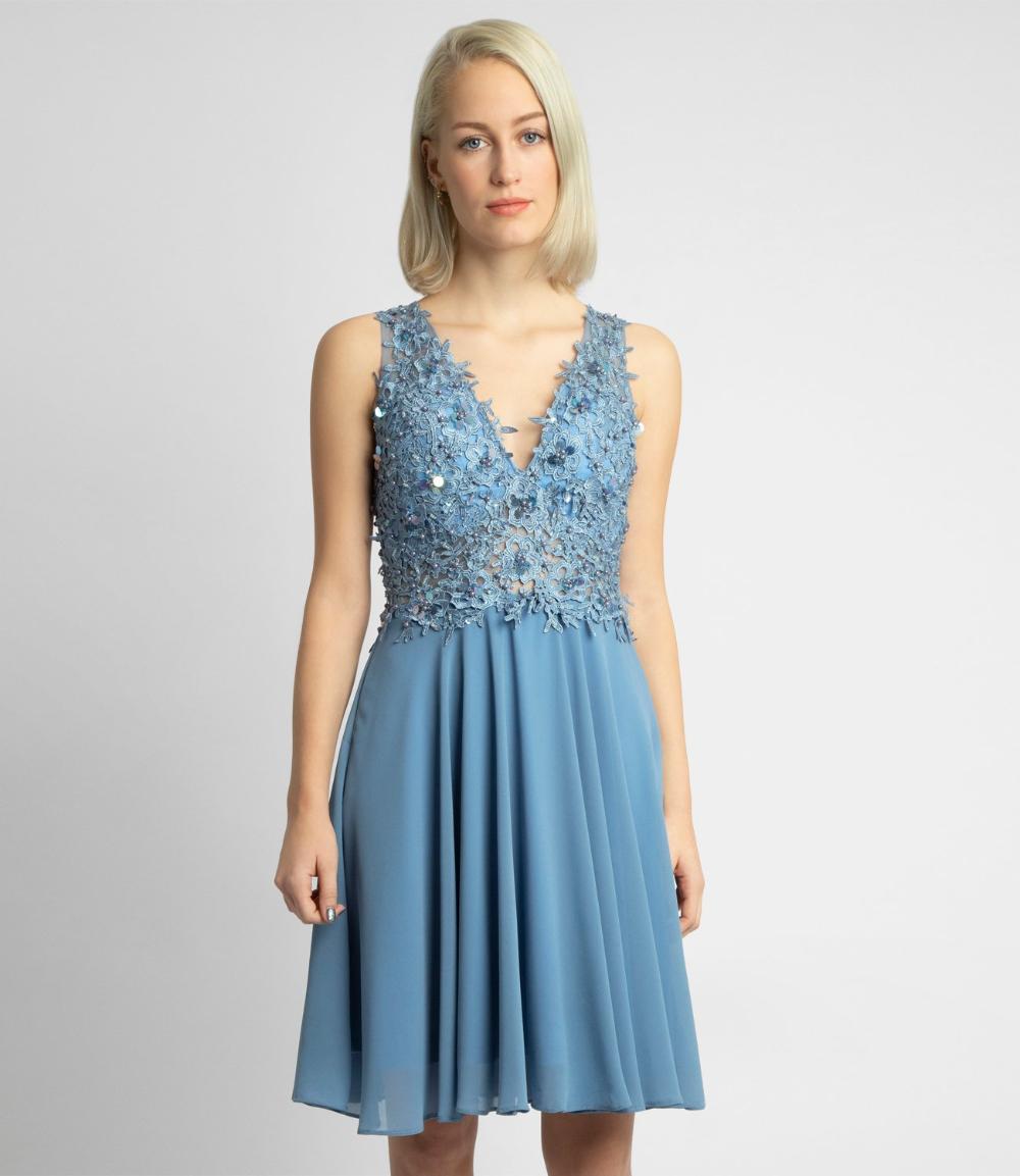 cocktailkleid aus chiffon und spitze, blau   apart fashion