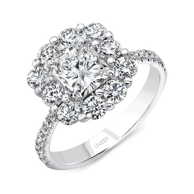 Uneek Fine Jewelry Radiant-Cut Diamond Engagement Ring with Floral ...