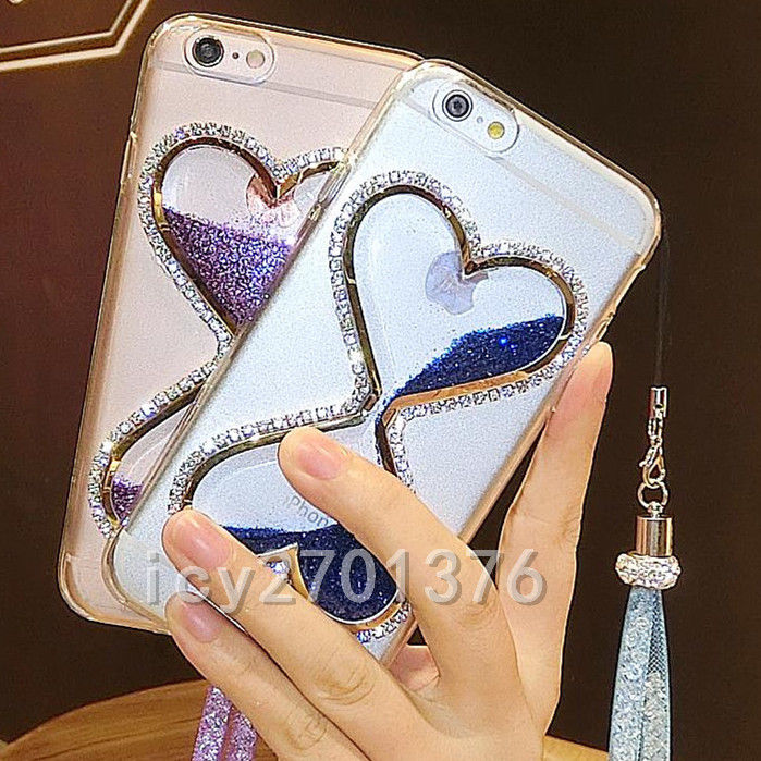 Details about Bling Glitter Quicksand Hourglass Soft Back Phone