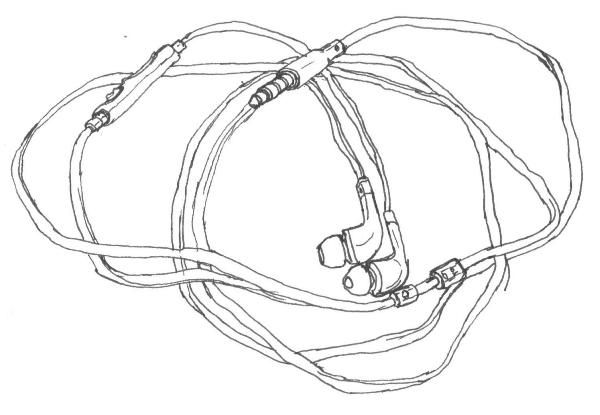 Line Art Headphones : Black line drawing of samsung in ear headphones art