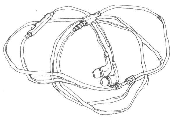Line Art Headphones : Black line drawing of samsung in ear headphones art