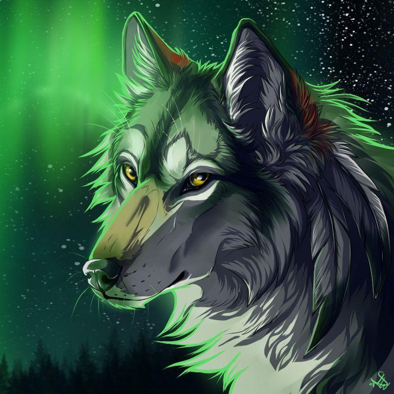 DesertRose,;,Green Wolf,;, Wolf art, Anime wolf, Canine art