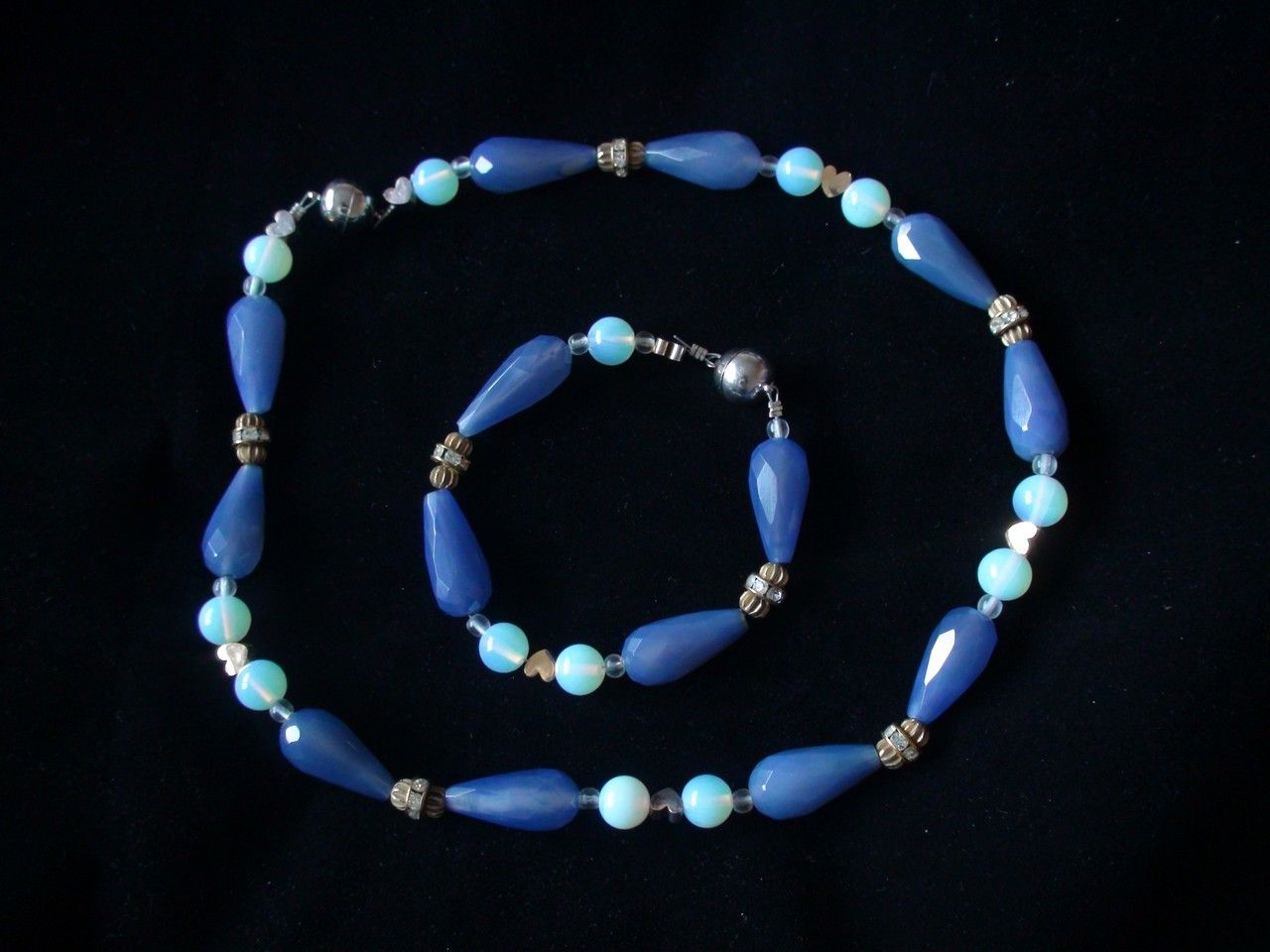 Blue Agate and Opalite Jewellery Set