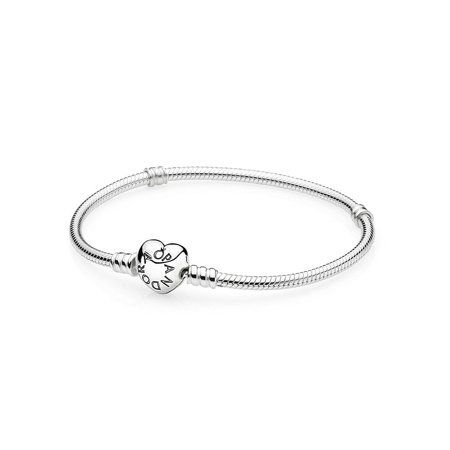331f4c258 Pandora Moments Silver Bracelet with Heart Clasp 18CM - 590719-18, Metal  Type