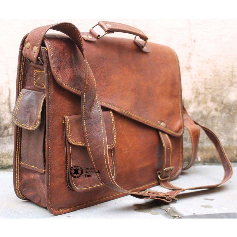 Distressed Leather Messenger Bag For