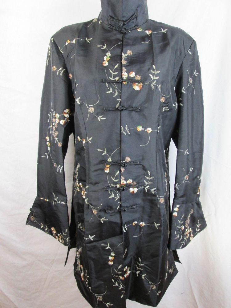 Black Silk Jacket Floral Sequins Asian Inspired Knee Length Coat XL #ChezPatricia #BasicJacket