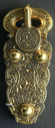 Gold belt buckle from the ship-burial at Sutton Hoo. Anglo-Saxon, early 7th century AD. From Mound 1, Sutton Hoo, Suffolk, England.