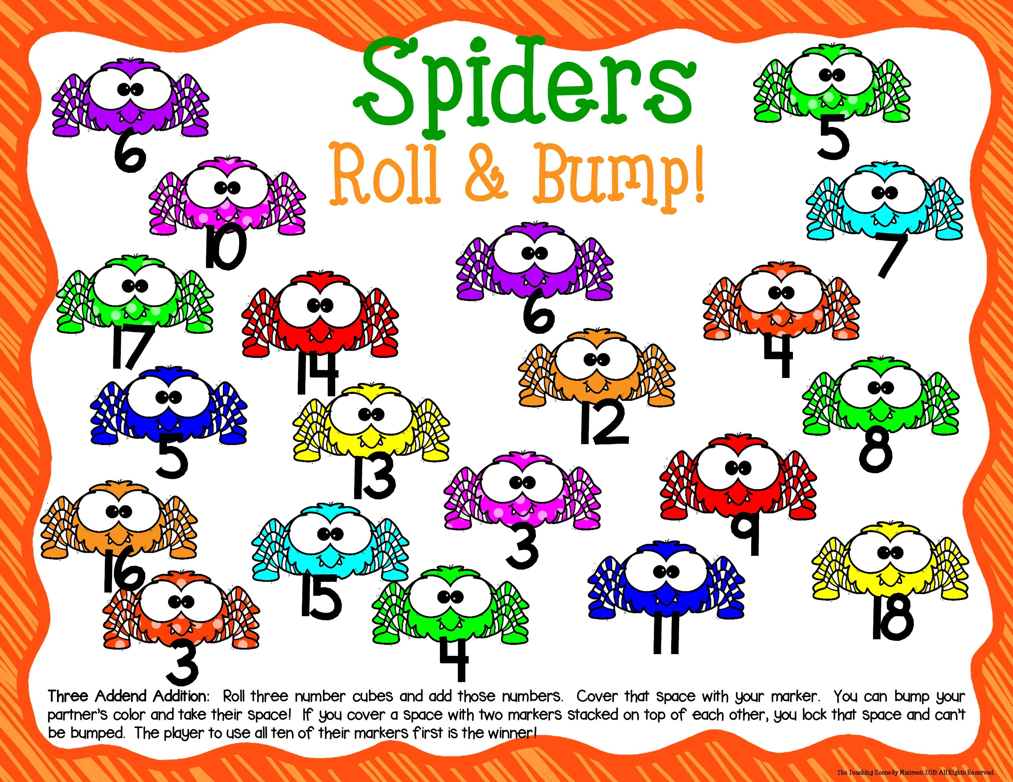 Spiders Math Center Dice Games