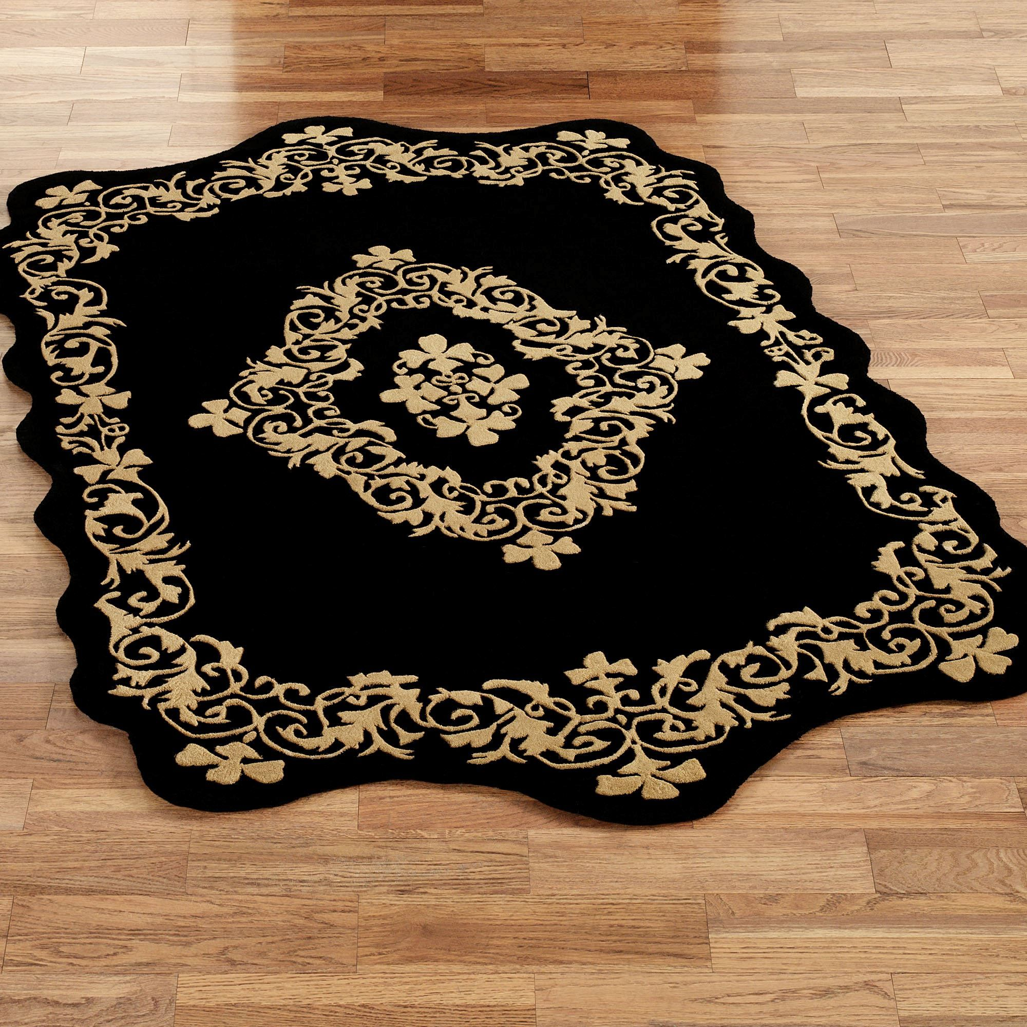 Imperial wool rectangle rug black wool area rugs gold