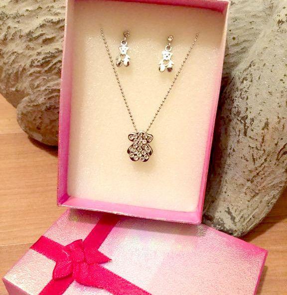 Gift Set Rhinestone Bear Pendant Necklace w/ Earrings