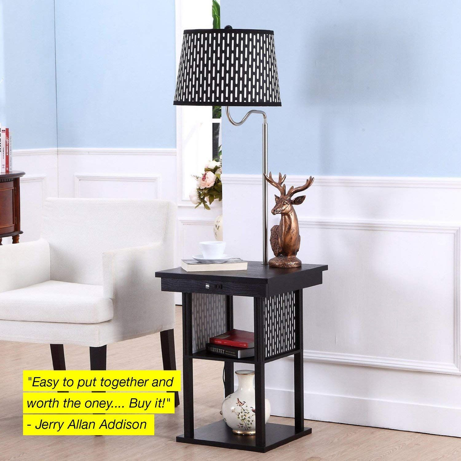 Shelves & USB Port Combination with LED Floor Lamp Bedroom