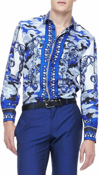 9ad345f94fa52 Versace Scarf Camoprint Shirt Blue in Blue for Men