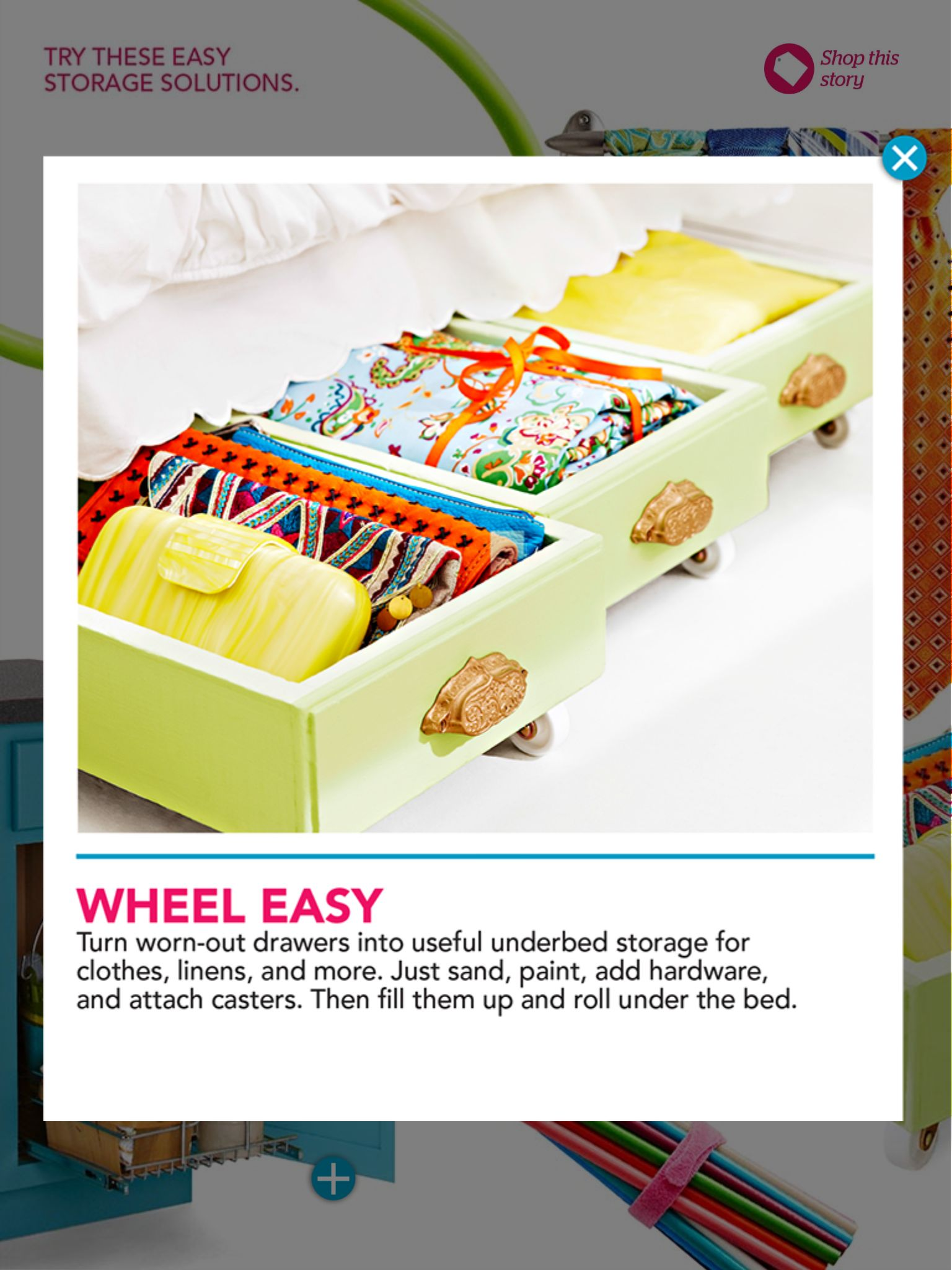 Drawers on wheels. Just paint, add wheels and you\'ve got instant ...