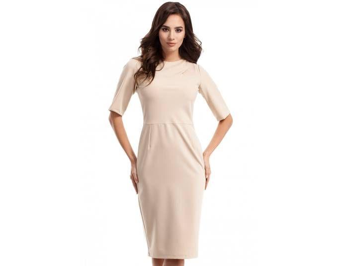 Clea Bleistiftkleid Kleid mit Falten an den Ärmeln ,Farbe: Beige ...