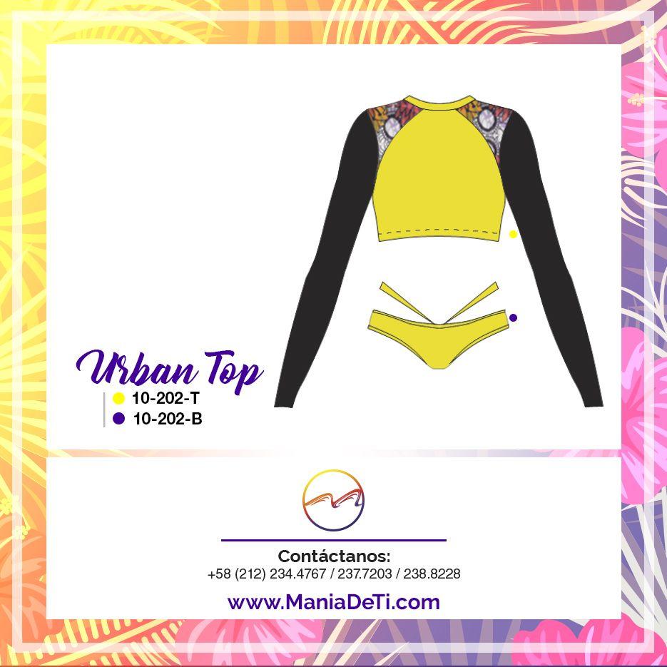 Urban Top Conócela 10-202-T Crop top manga larga con hombros de malla. 10-202-B Bikini con vivos a la cadera.   __________________________________________  Urban Top  10-202-T Crop rashguard top with mesh shoulders 10-202-B Bottom with hip straps  #trajesdebano #swimsuits  #piezas #goodview #beach