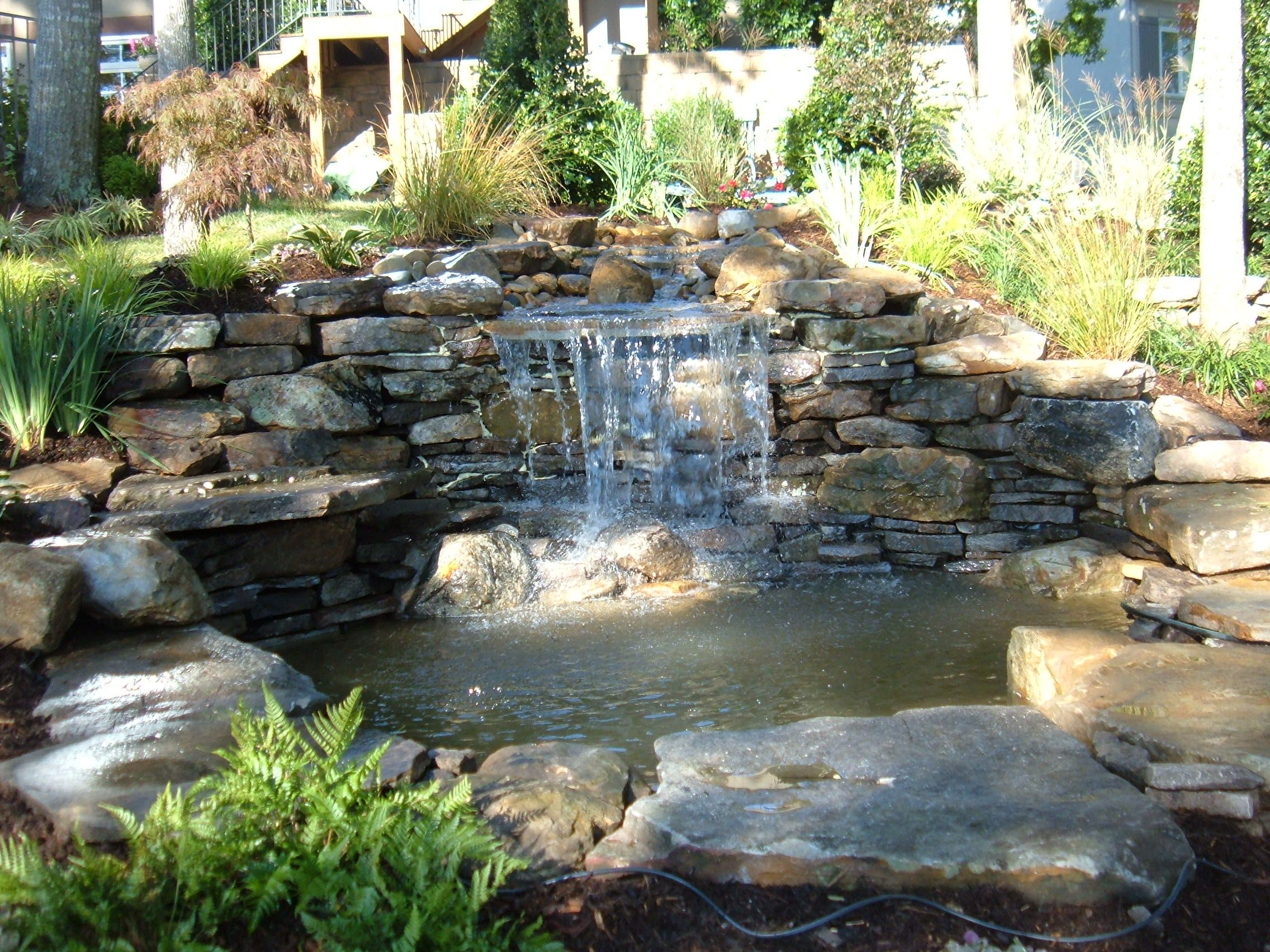 Charmant Outdoor:Garden Waterfalls Design To Make Your Home Looks Greaet Backyard  Garden Waterfalls Ideas With Nice Stone Placements