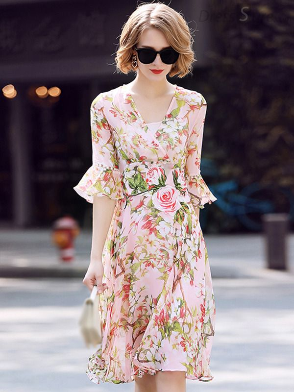 Buy Elegant Rose Pattern V-Neck Flare Sleeve Floral Dress at DressSure.com  Color Multi  Size S 3648b3034