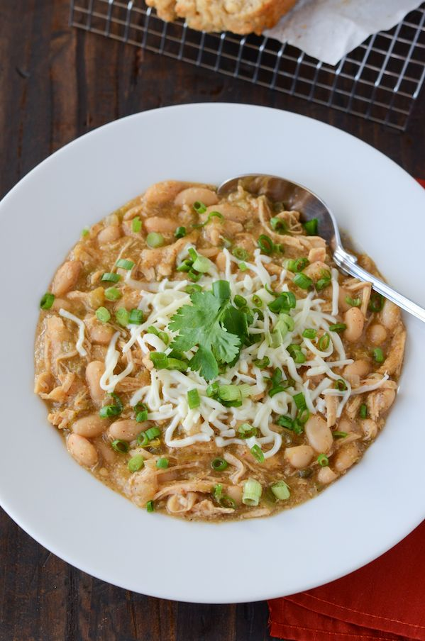 Stovetop White Chicken Chili with green chilis and white cannellini beans that only takes 40 minutes!