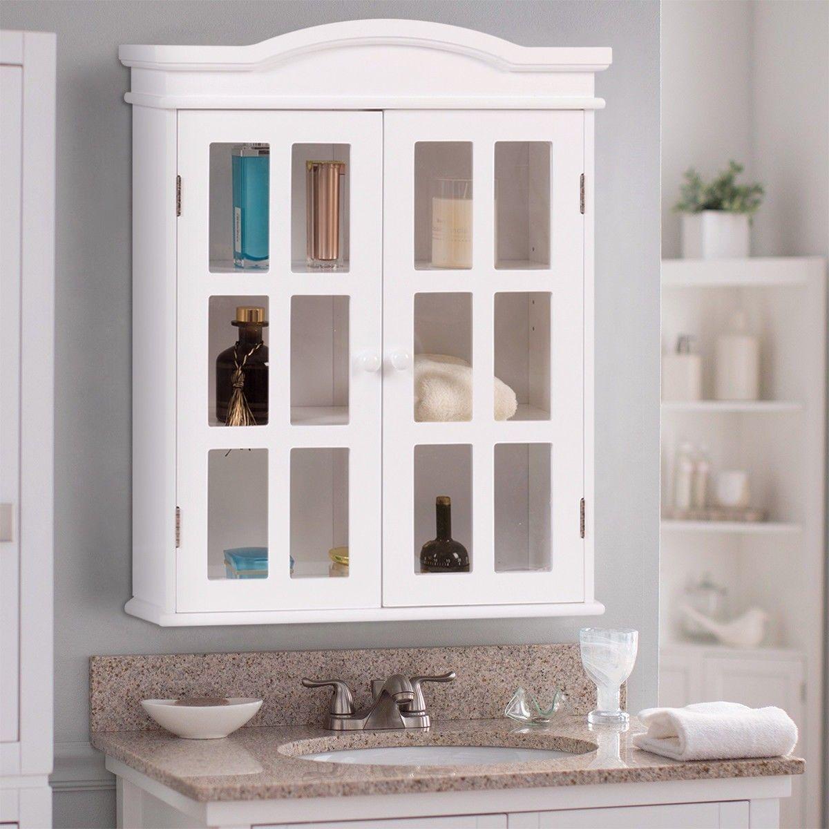 Wall Mount Bathroom Double Doors Shelved Storage Cabinet In 2019