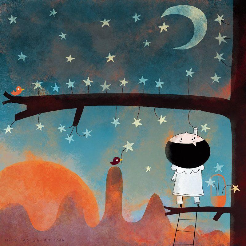 произведения, рисует ночью картинки через сито ранее