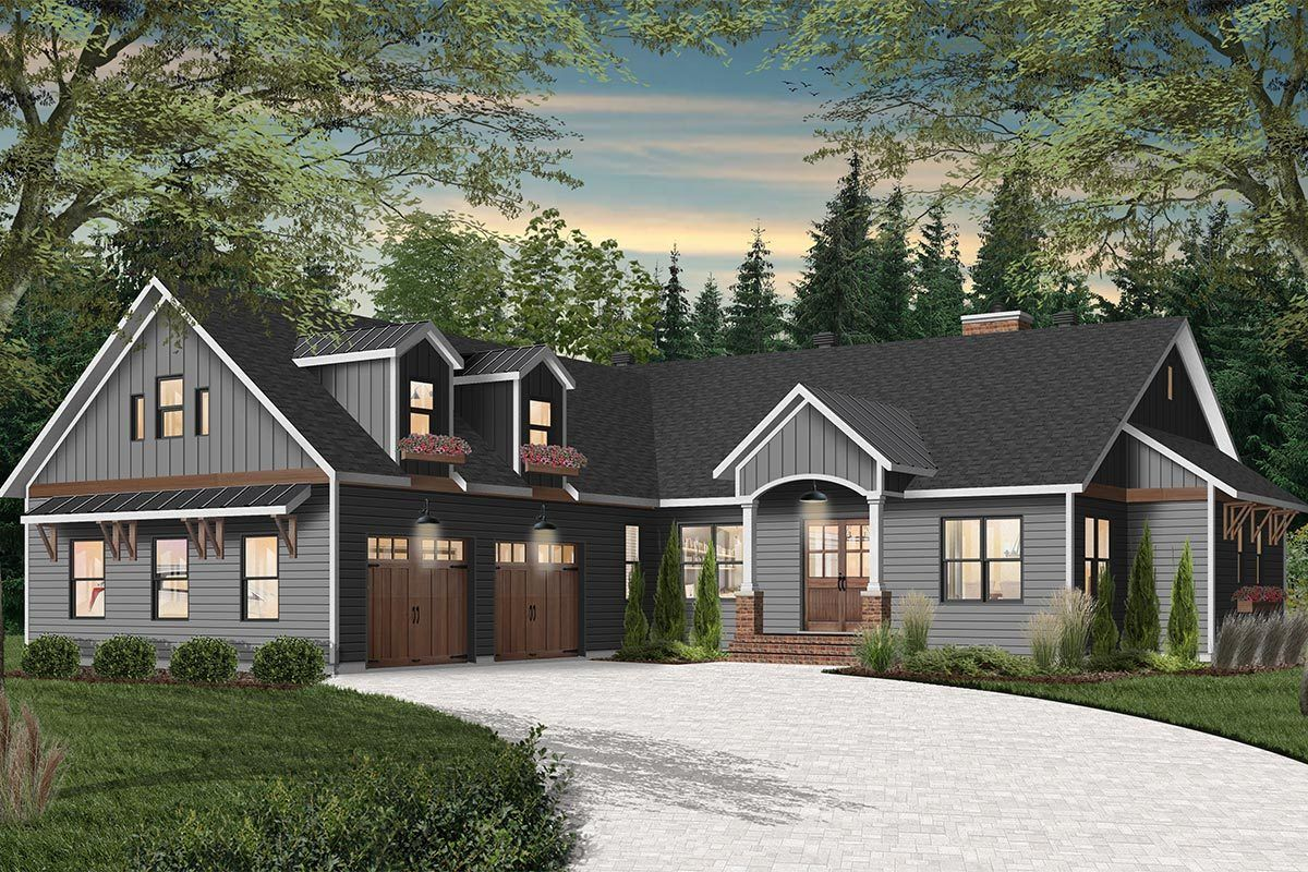 Plan 22538dr New American House Plan With Courtyard Garage With Game Room Above Farmhouse Style House Plans Courtyard House Plans Farmhouse Style House