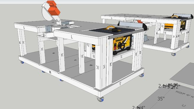 Fabulous Large Preview Of 3D Model Of Mobile Workbench With Built In Evergreenethics Interior Chair Design Evergreenethicsorg