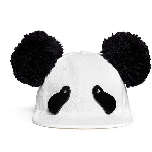 23a89ad188e Piers Atkinson Strass eye pompom ear panda cap ( 630) ❤ liked on Polyvore  featuring accessories