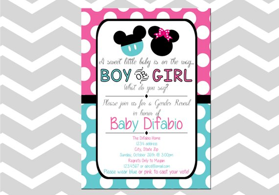 PRINTED Baby Minnie Mouse Baby Shower Invitations Gender Reveal Party Mickey