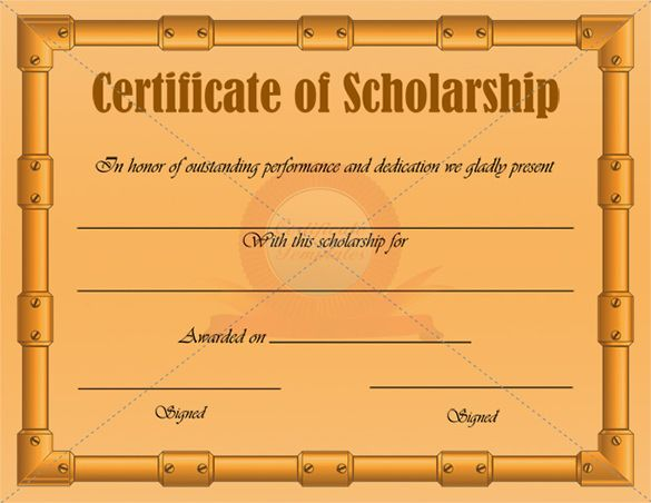 scholarship award certificate template free