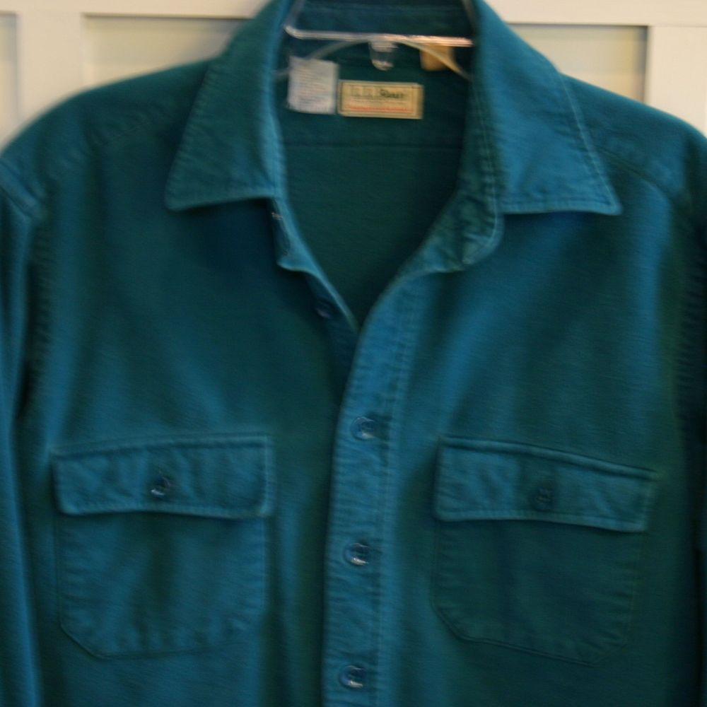 ll bean mens l 16 5 tall teal chamois cloth shirt flannel vintage made in usa llbean. Black Bedroom Furniture Sets. Home Design Ideas