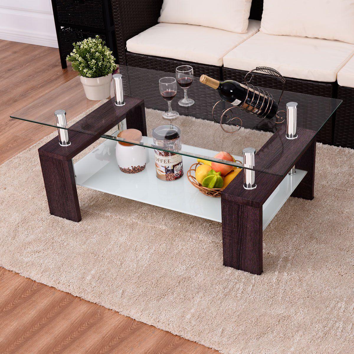 Tangkula Rectangular Glass Coffee Table Shelf Living Room Furniture New Brown Det Coffee Table With Shelf Rectangular Glass Coffee Table Glass Coffee Table [ 1200 x 1200 Pixel ]