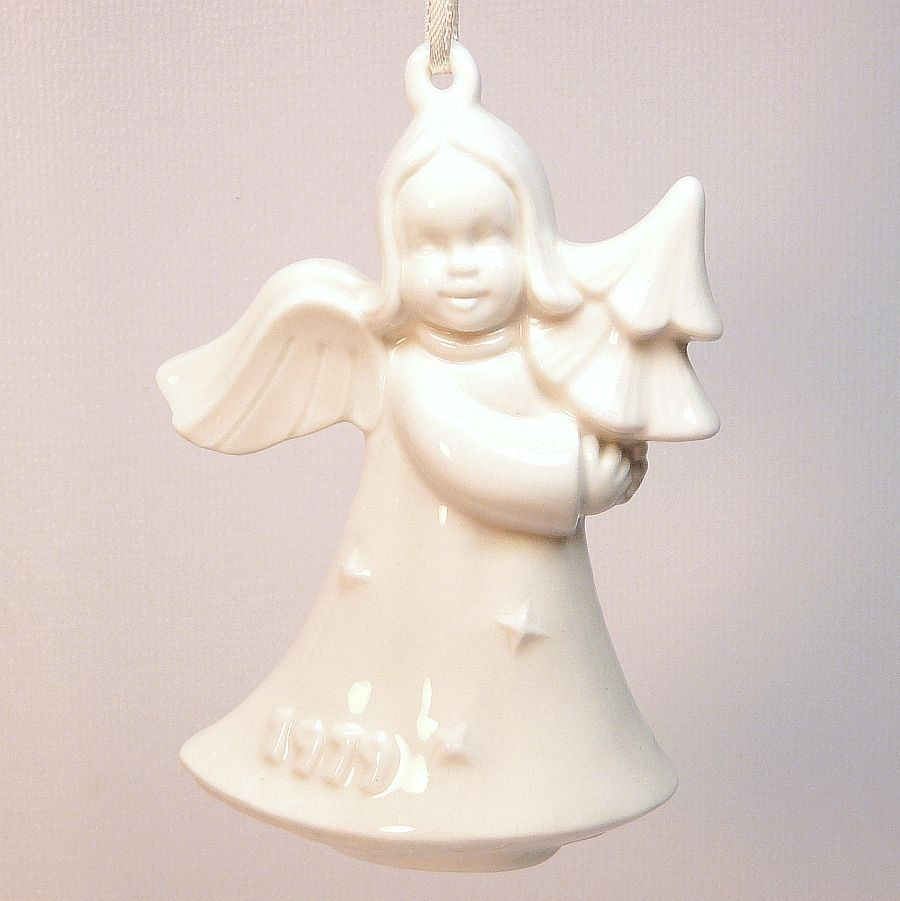 Goebel christmas ornaments - Vtg Goebel 1979 Annual Christmas Ornament Angel With Tree White Second Edition Box