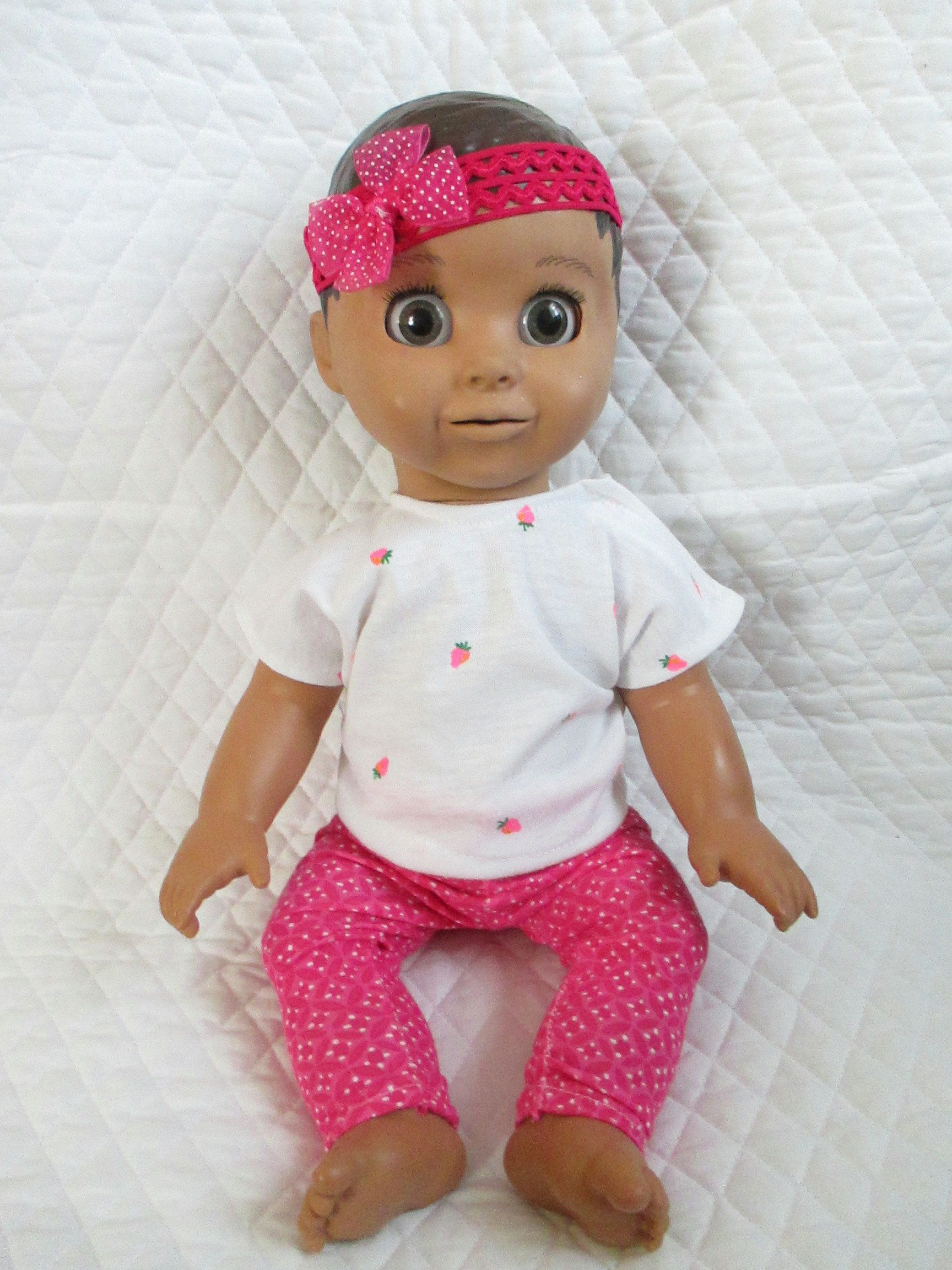 Luvabella Doll Clothes 3 Pc Outfit Strawberry Top Pink Pants