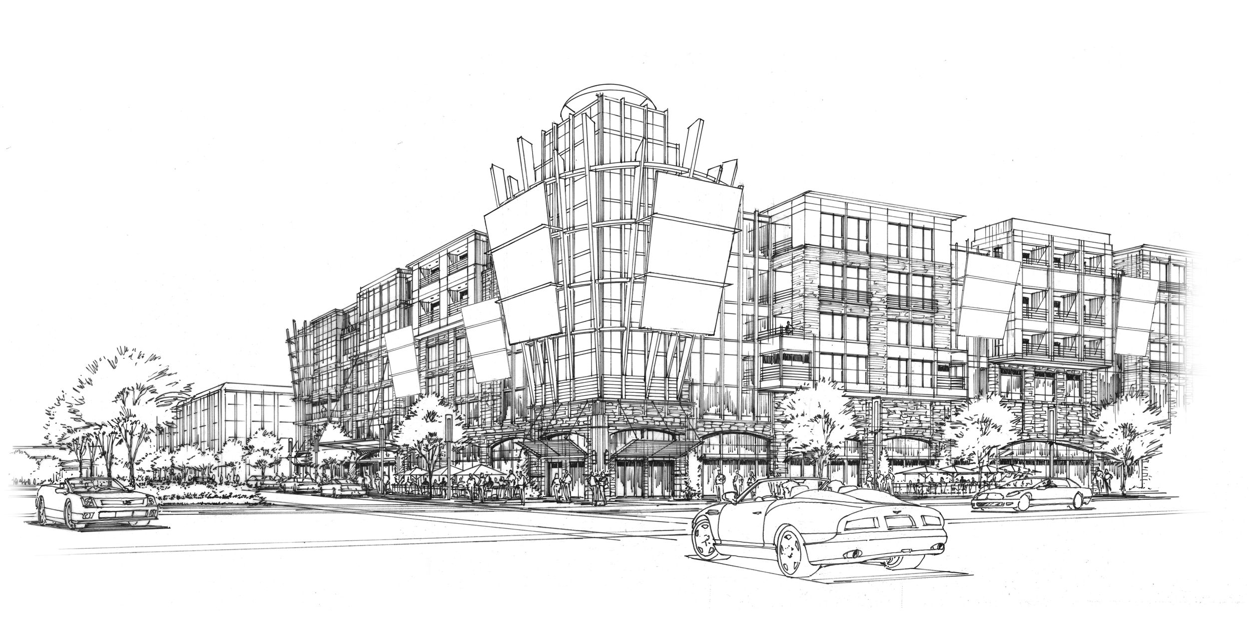 A Retail And Apartment Concept Sketch Black Marker On