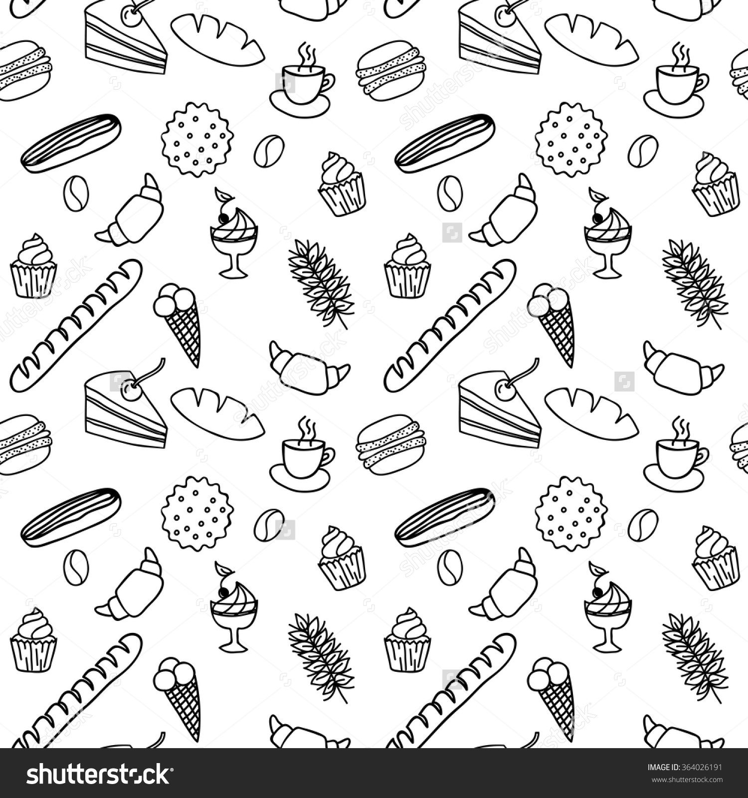 Hand Drawn Seamless Pattern For Adult Coloring Pages With Bread ...