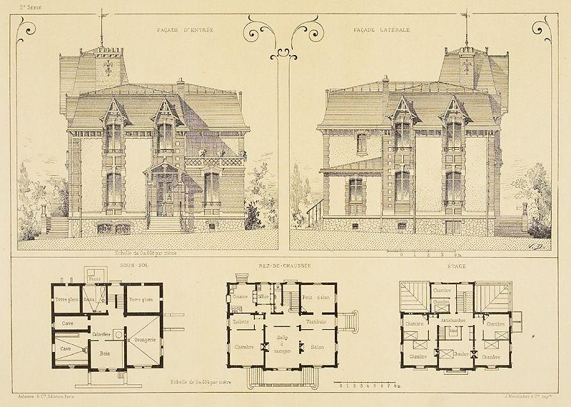 Villa A Chatou Facade D Entree Facade Laterale Plan Facade Facade Villa Plan Architecte