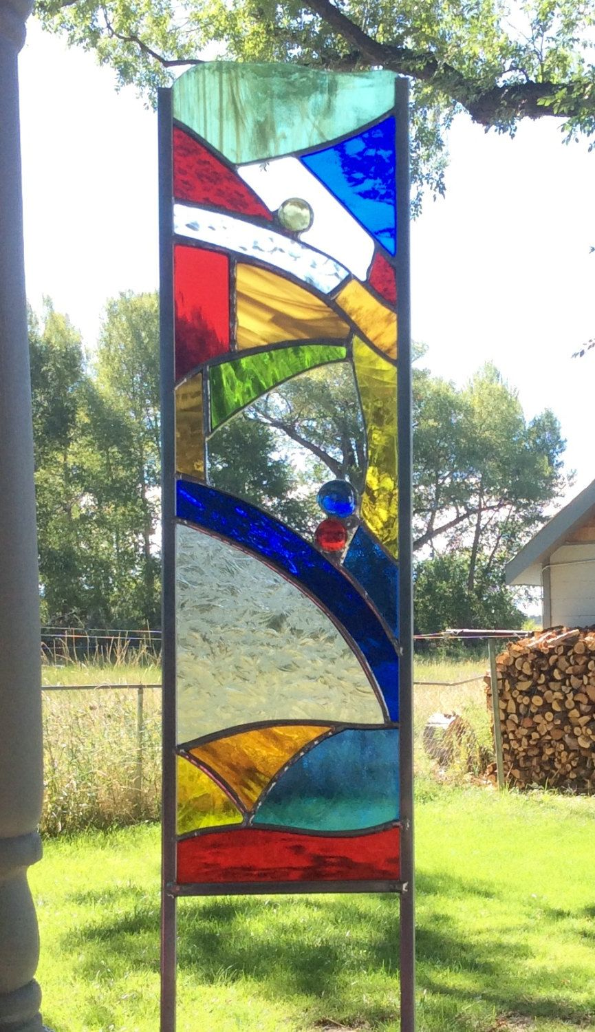 Fused glass yard art - Stained Glass Garden Stake Colorful Glass Art For Your Yard By Tristansartworks On Etsy