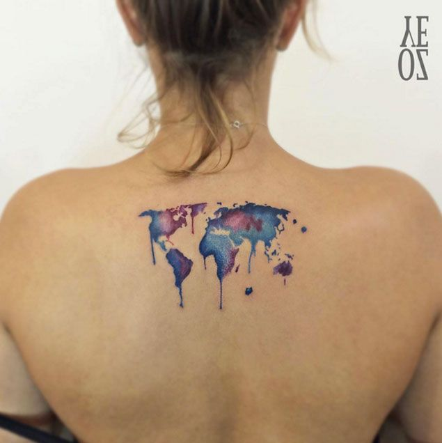 Watercolor World Map Tattoo by Yeliz Ozcan