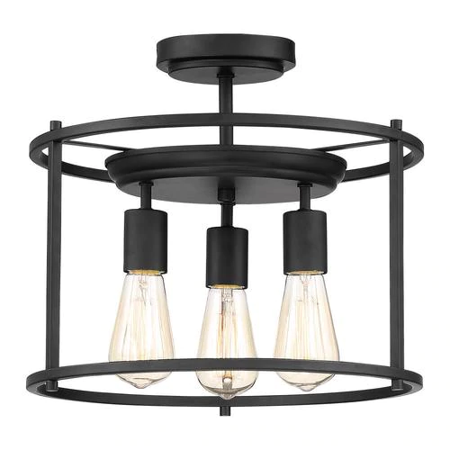 Quoizel Wolfeboro 14in Matte Black Farmhouse Semiflush