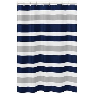 navy and white shower curtain. Kid bathrooms  Shop for Navy Blue and Gray Stripe Shower Curtain Free Shipping on