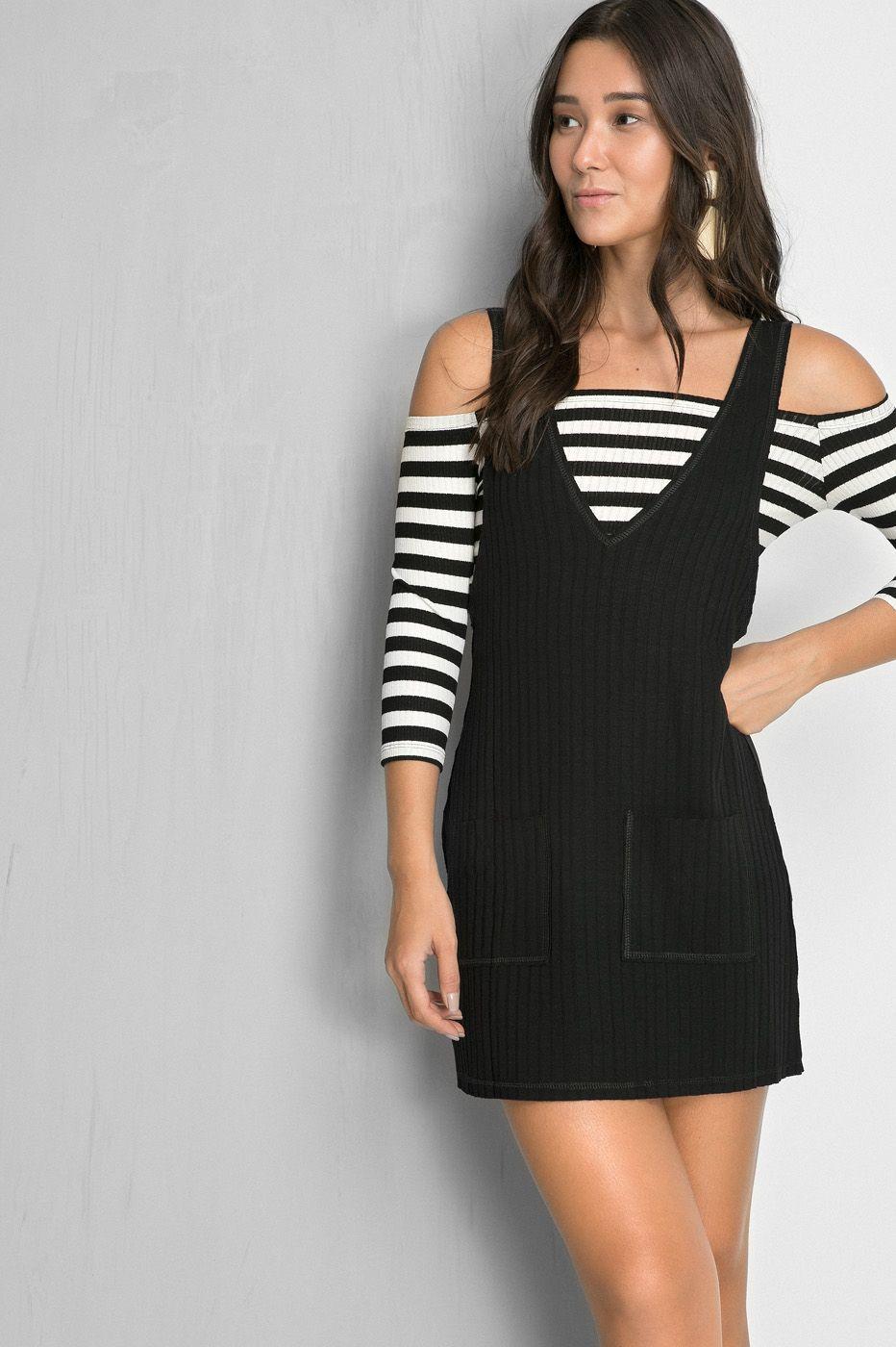 48eab802d053 Dress to Vestido salopete top listrado - Vestidos - Shop | Women's ...
