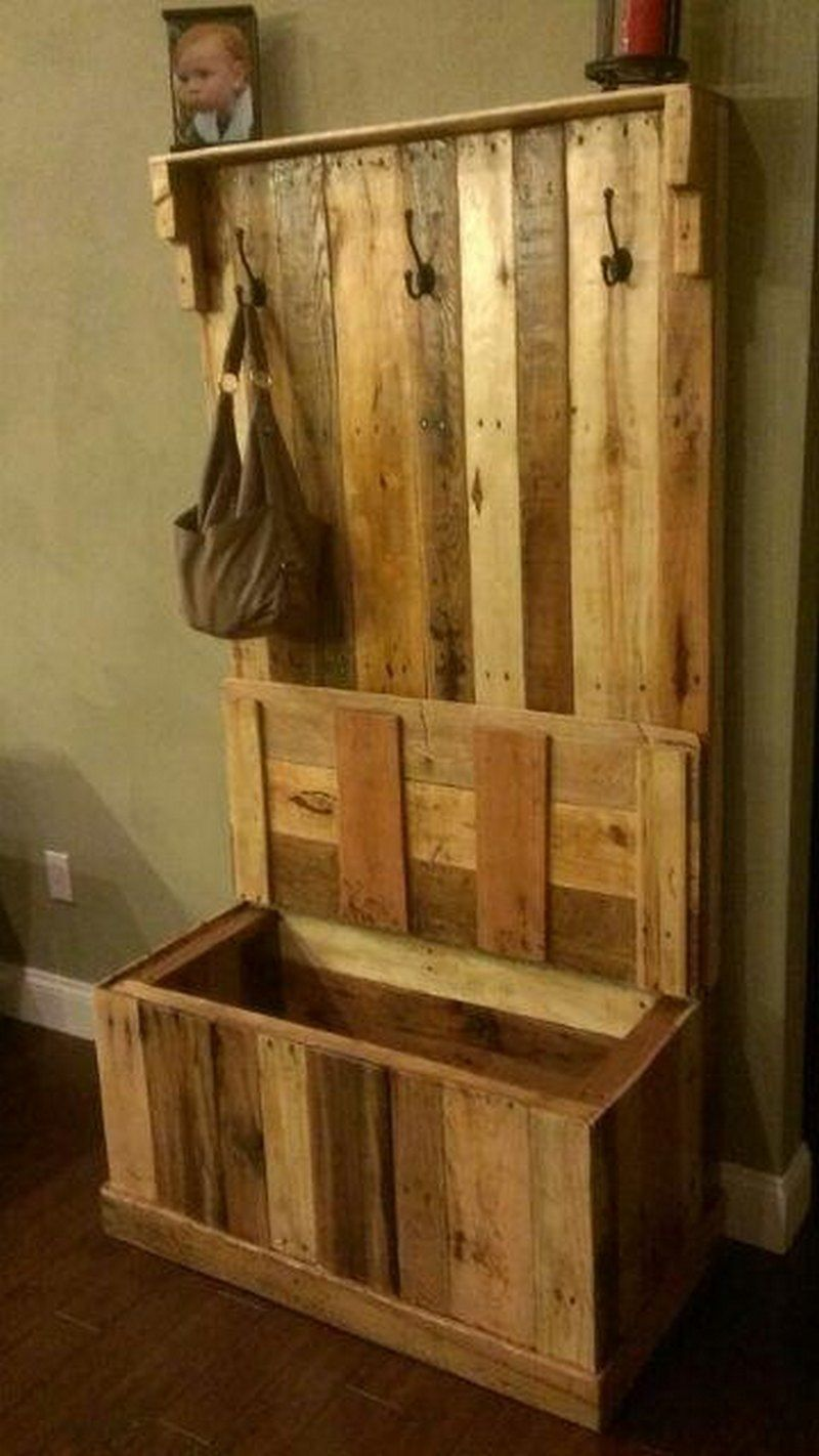 Pallet Entryway Bench Wood Pallets Reclaimed Wood Projects Diy Pallet Projects