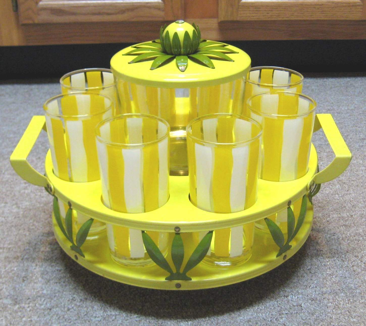 Details about Vtg Mid Century Mod Yellow Metal Daisy Caddy ...