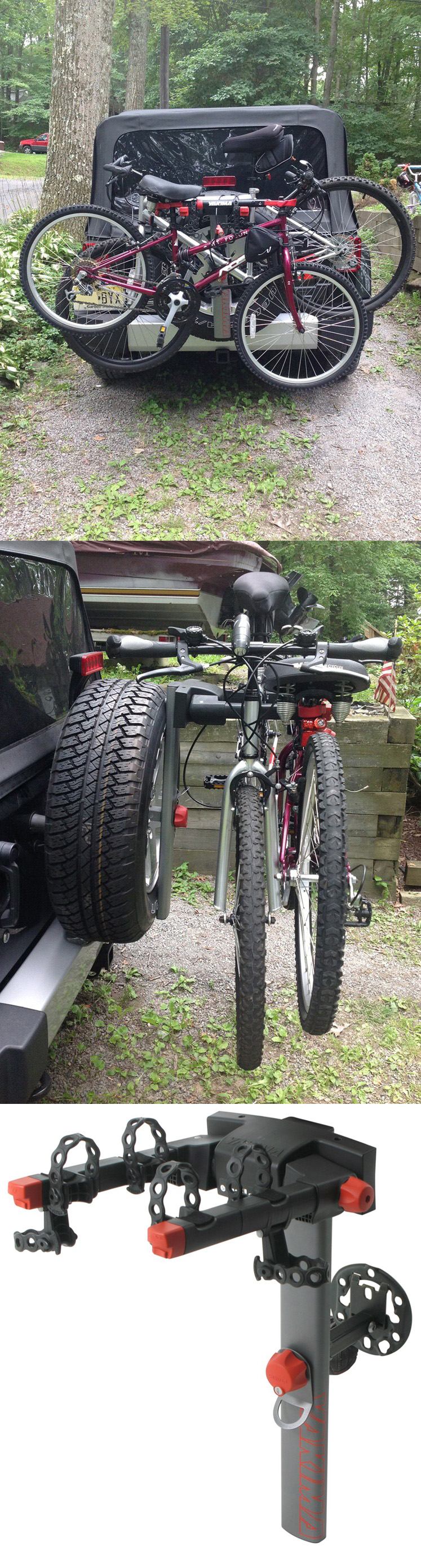 Securely mount this bike rack to the spare tire of the Jeep Wrangler
