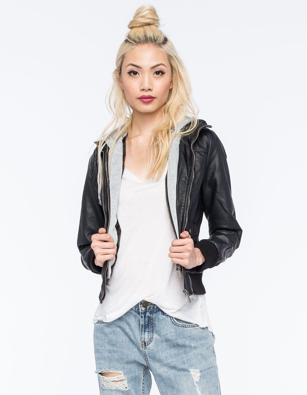 f8be79fedfb FULL TILT Faux Leather Womens Bomber Jacket 261083100