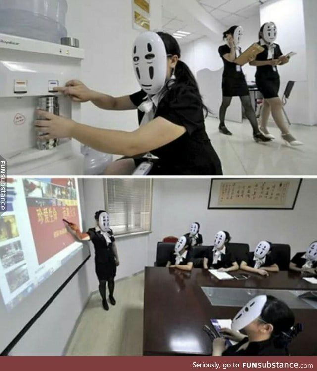 Chinese Workers Go Faceless For A Day To Avoid Stress Of Fake