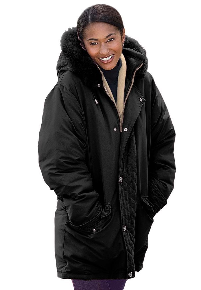woman within plus size coat microfiber down feather black 4x