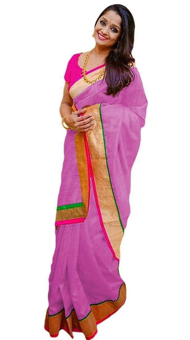 af59e2714ca Pink Plain Chanderi Saree with blouse at best rates available on Mirraw.