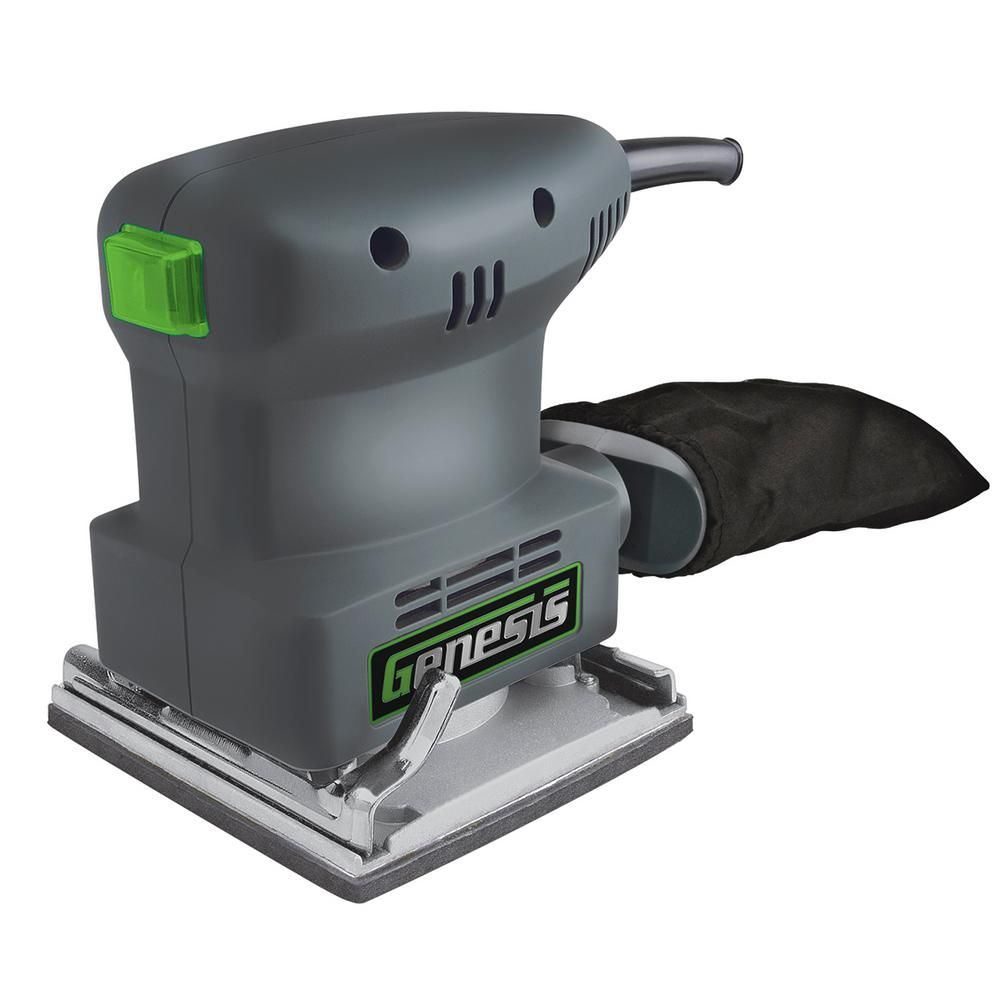 Genesis 1 3 Amp 1 4 Sheet Palm Sander Dust Collector Working Area Home Depot